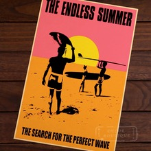 Endless Summer For Sea Perfect Wave Surf Sports Travel Vintage Retro Poster Decorative Wall Stickers Posters Bar Home Decor Gift(China)