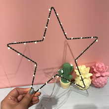 Warm white LED Star lamp Heart Moon Christmas tree  2*AA battery box light wall decoration lamp wrought iron lamp home decorate