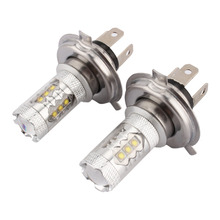 A24 2pcs 80W White H4 LED Car Fog Lamp 1500LM High Low Beam Headlight Source parking