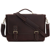 "Vintage Crazy Horse Genuine Leather Briefcase men Business Bag Men Briefcase Leather 15""inch Laptop Bag tote male Office Bag(China)"
