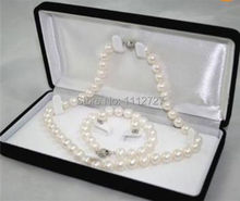 Jewelry Sets 6-7MM White real natural Pearl Necklace Bracelet Earring Beads Jewelry Natural Stone Wholesale Price(China)
