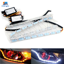 YM E-Bright!!2PCS(1Pair) DRL Dual Color White/Amber Dynamic Streamer Flash LED Daytime Running Lights Headlight S8 Tears Light