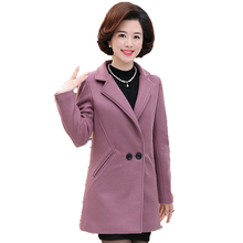 WAEOLSA Middle Aged Woman Tweed Overcoat Gray Green Pink Blend Coats Autumn Womens Notched Collar Duffle Jacket Mandeau Femme XL