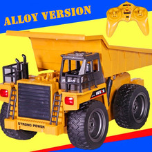 Alloy 2.4G 6CH Wireless RC Truck Navvy Dump Truck With Light Kids Engineer Vehicle RC Toys Christmas Gift(China)