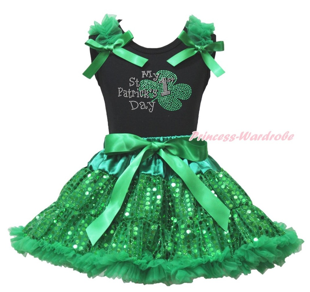 My 1ST St Patrick Day Clover White Top Green Bling Sequins Girls Skirt Set 1-8Y<br>