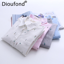Dioufond 2017 Preppy Character Print Women Cotton Shirts Loose White Long Sleeve Ladies Tops Turn-down Collar Feminina Blusas(China)