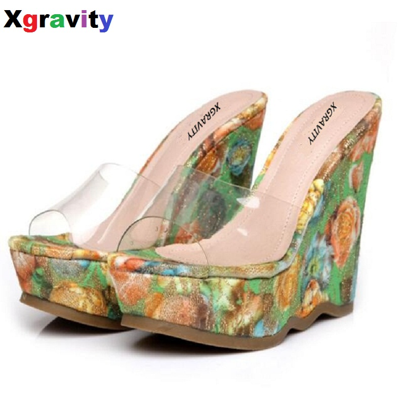 Drop Shipping 2017 Summer Lady Fashion High Heel Wedge Sandals Elegant Flower Design Woman High Heel Pumps Casual Slippers B004<br>