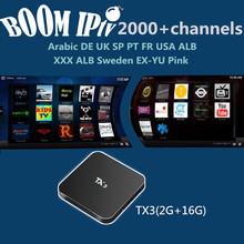 BoomIPTV subscription Android6.0 TX3 Smart tvbox 2000+Channels Europe DE FR IT SP UK EX-YU AR TR ALB NL USA qhdtv neotv a95x