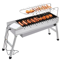 Household usb electric charcoal grill/Automatic flip barbecue stove with dedicated fork stainless steel BBQ grills