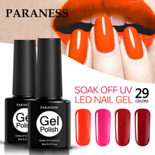 Paraness Long lasting Soak Off Varnish Base Top Coat Nail Polish 29 Colors Nail Gel Polish UV&LED Candy Color Gel