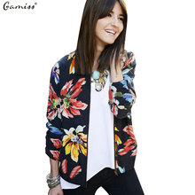 Gamiss Spring Basic Bomber Jacket Vintage Women Floral Print Baseball Jacket Coat Zipper Chaquetas Biker Outwear New Fashion Top