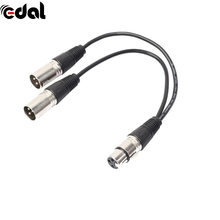 EDAL 3Pin XLR Female Jack To 2 Male XLR Plug Y Splitter Adapter Cables MIC Microphone Audio Extension Cable(China)