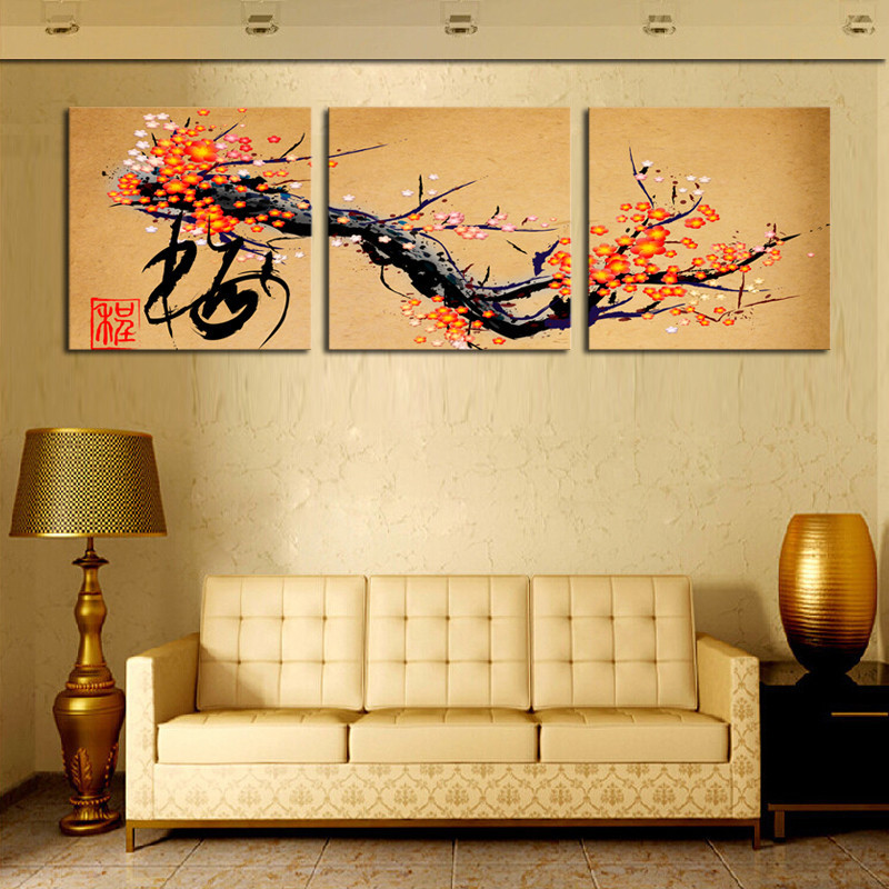 Unframe 3 Panels Chinese Style Art Flowers Decoration Picture HD ...
