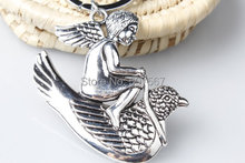 Wholesale-Angel keychain, angel on silver bird key ring, guardian angel keychain, protection keychain