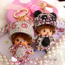 2017 Monchichi Panda Hat 8.5x5.5cm Crystal Kiki Lovely Baby 18K Gold Plated Car Keychain Key Ring Pendant Auto Interior Accesory