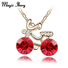 Magic Ikery 2016 new design  Gold Color Crystal Cute bicycle pendant necklace crystal for Women girls Mother's Day gift
