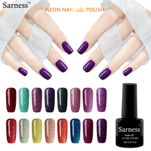 Sarness cheap Long-lasting glitter Neon Soak Off Rainbow Nail Gel Polish Semi Permanent Glue lucky Colors UV Gel Varnish