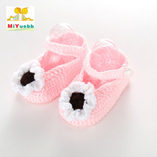 Solid color Small flowers Baby boy girl crochet knitting line shoes toddler shoes newborn months knitting soft slippers xz106(China)