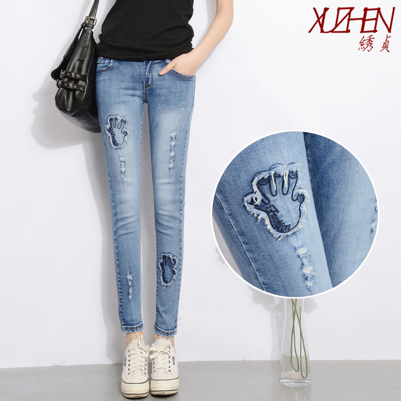 2015 summer female slim hole pattern elastic jeans gossip cheap clothes china women selling Fashion sexy  Discount promotionОдежда и ак�е��уары<br><br><br>Aliexpress