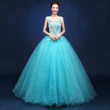 Brand New Sky Blue Flowers Appliques Sleeveless Floor Length Dresses Singer Solo Performance Ball Gown(China)