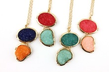 2016 New Fashion Natural Stone Oval Quartz Druzy Pendant Necklace Gold Summer Romantic Long Necklace Jewelry Wholesale