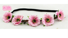 2016 New 4.5cm sakura flower hair accessories headbands bohemian beach sand flower hair band bridal wreath wholesale(China)