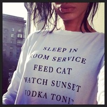 Hip Hop  tops Jumper  SLEEP IN ROOM SERVICE FEED CAT WATCH SUNSET VODKA TONIC Funny Crewneck Sweatshirts Outerwear