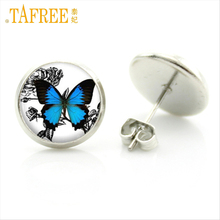 TAFREE Butterfly Earrings Cute Style Glass Cabochon Jewelry for Women Steam punk Stud Earrings female Ear brincos Pending