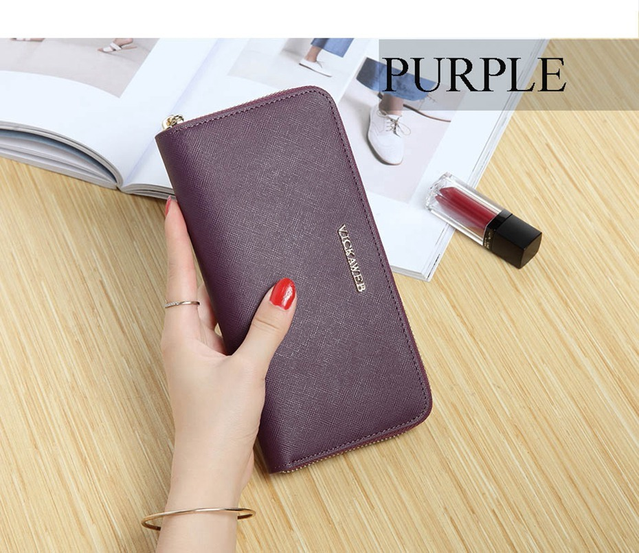 VICKAWEB Big Female Wallet Solid Women Wallets Genuine Leather Zipper Long Purses New Standard Wallets Fashion Ladies Purse 06-VICKAWEB06--013
