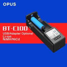 Original Opus BT-C100 LI-ion NiMh Intelligent Battery Charger with LCD Display AA AAA C D 26650 18650 14500 10440 26650(China)