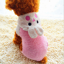 AINNY 1 Pcs Pink Rabbit Coral Velvet Embroidery Dog Coats Novel Spring Dog Clothes Winter Jackets Dog Costume Pet Clothes(China)