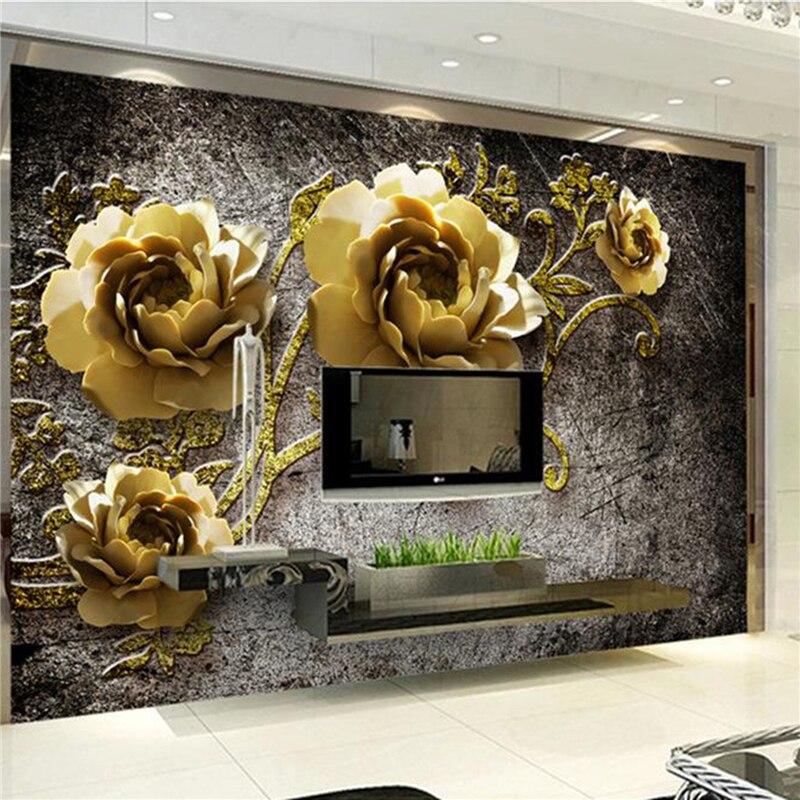 3D three-dimensional relief rose wallpaper TV backdrop wallpaper, wallpaper mural bedroom living room<br><br>Aliexpress