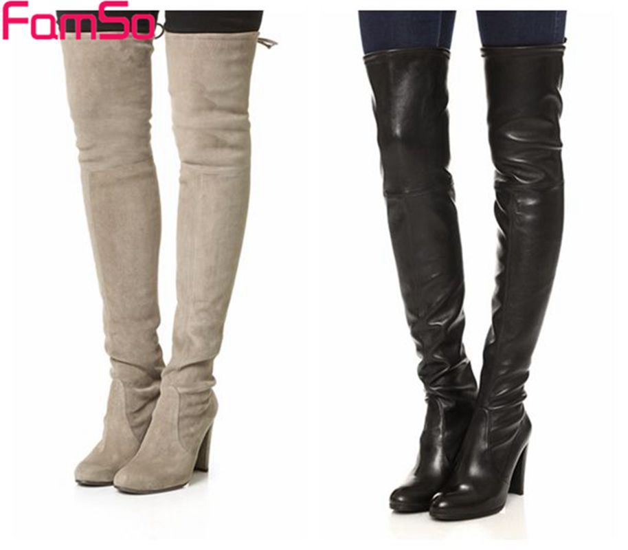 Plus Size 34-43 2017 New Suede Boots Office Ladies Classics Thigh High Boots Autumn High Heels Black red Women Boots SBT4266<br><br>Aliexpress