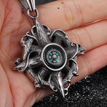 Cool Punk Style 316L Stainless steel Holiday Jewelry Biker compass Pendants Men's Jewelry Gift Vintage Necklace(China)