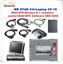 Top quality MB Star C4 Sd connect wifi mb star c4 2017.12 software SSD+ star C4 military laptop CF19 for Mercedez Benz car/truck(China)