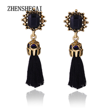 2017 Korean Fashion New Accessories Personality Long Tassel Earrings Temperament Leather Circle Earrings For Women e0238