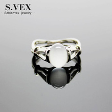 S.vex 2017 New Silver Plated Ring Genuine Moonstone Twilight Bella Stone For Women Rg036(China)