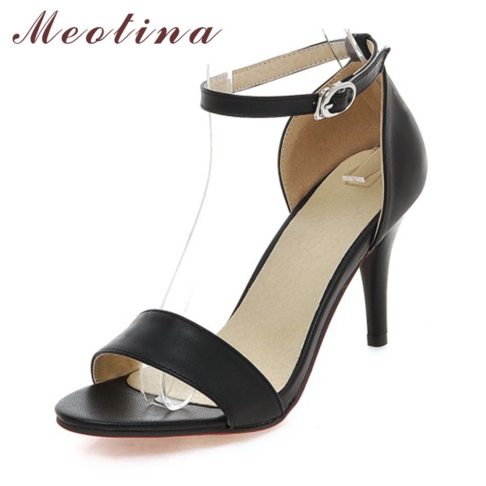 Meotina Shoes Women Sandals 2017 Open Toe High Heels Ankle Strap Stiletto Ladies Sandals Small Size 34 Black White Women Shoes <br><br>Aliexpress