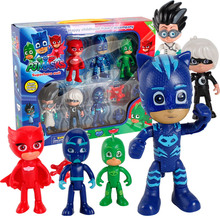 6Pcs/Set PJ Masks Cartoon Catboy Owlette Gekko Cloak Action Figure Toys Boy Girl Birthday Gift ABS Mask Dolls Original Box