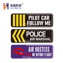 1 PCS Poster Sticker Reflective for Car Motorcycle Luggage Bag for Pilot Car Following Me / Police Air Marshal / Air Hostess
