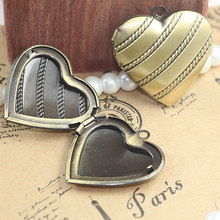 3PCS 29MM Vintage Brass Heart Locket Pendant NO06653(China)