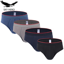4pcs/lot SKYHERO Men Underwear Briefs Panties Sexy Mens Brief Hot Cotton Low Rise Short Underpants Large Pouch Men's Slips Nkd(China)