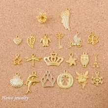 Mixed  40pcs angel  crown shell wings shape  Charms   Gold-color   Fit Bracelets Necklace DIY Metal Jewelry Making Q005