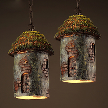 Resin tree house design creative pendant lamp retro resin carving art hanging lamp bar restaurant cafe living room light fixture(China)