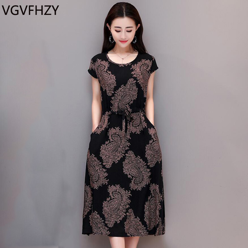 Plus size 6XL 2018 Summer Women Clothing Middle-aged Dress Short Sleeve Cotton Flower Print Dress Casual Loose O-Neck long Dress
