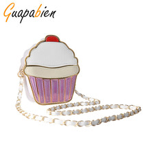 Guapabien Cute Cartoon Women Crossbody Chain Bags Ice cream Cupcake Mini Bags Small Clutch Handbags Girl Messenger Shoulder bag(China)
