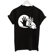 Women Black T Shirts Hand Shadow Rabbit Print Letter Loose Casual Funny T-Shirt Lady Short Sleeve Top Tee Shirt Hipster Street