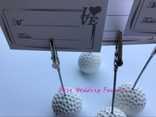 FREE SHIPPING(30pcs/Lot)+White Golf Ball Design Wedding Place Card Holder Name Card Holders Party Decoration Favors(China)