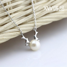 famous brand 925 Sterling Silver Necklace female elk reindeer cartoon cute natural pendant freshwater pearl girlfriend gift(China)