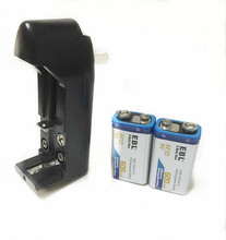 2PCS/lot 9V 6F22 Lithium rechargeable battery + Universal 9v AA AAA 18650 14500 CR123A charger free shipping(China)